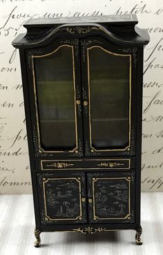 Vintage Miniature BESPAQ Black Enamel Wooden Armoire Chinese Gilt in 1:12 scale