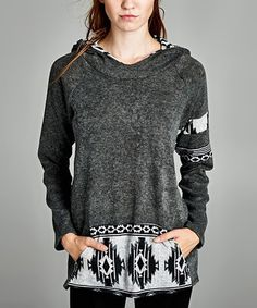 Look what I found on #zulily! Charcoal Geometric-Pocket Hoodie by Love, Kuza #zulilyfinds