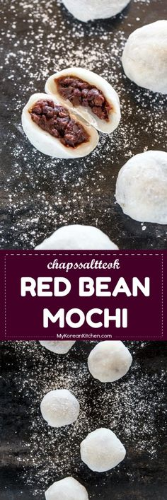 Easy mochi recipe. This Korean interpretation of red bean mochi is soft, chewy and sweet. A perfect snack and dessert! | MyKoreanKitchen.com #mochi #redbeanmochi #anko #dessert #daifuku #koreanfood #asianfood