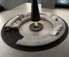 "Circular sectional with ""firepit"" in center"