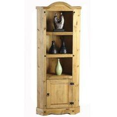 Corona Tall Corner Wooden Furniture Racks Storage Solid Wood Cupboard Rustic