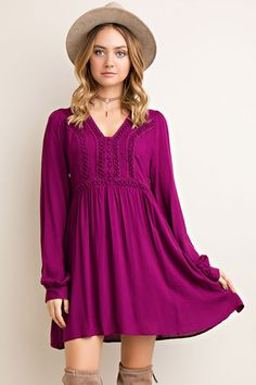 Lace Trim Plum Dress