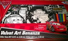 Disney Pixar Cars 2 Velvet Art Bonanza by Creative Kids. $8.72. 8 Fine Tip Markers. Disney Pixar Cars 2 Theme Velvet Art Bonanza. 2 Tubes of Glitter Glue. 1 Velvet Door Hanger. Velvet Art bonanza includes the following: - 1 Velvet Door Hanger - 2 Velvet Posters 8 in x 10 in - 1 Velvet Poster 6 in x 8 in - 1 Velvet Poster 5 in x 7 in  - 1 Velvet Notepad - 1 Sheet of Stick-On Jewelry - 1 Bag of Sequins - 2 Tubes of Glitter Glue - 8 Fine Tip Markers