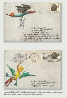 Edward Gorey was known to decorate the envelopes of his correspondence. Apparently he also took requests Image From Floating Worlds: The Letters of Edward Gorey Peter F. Neumeyer.
