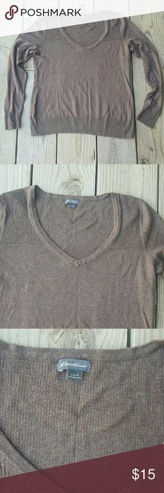 Eddie Bauer sweater Cotton/lambswool blend, brown, large Eddie Bauer Sweaters V-Necks