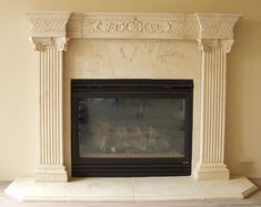 Windsor Fluted Cast Stone Mantel - Windsor Fluted Cast Stone Fireplace a classic design www. Stone Veneer Fireplace, Stone Fireplace Designs, Natural Stone Fireplaces, Stone Mantel, Limestone Fireplace, White Fireplace Surround, Fireplace Mantel Surrounds, Home Fireplace, Faux Fireplace