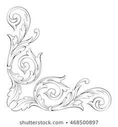 Discover thousands of images about Vintage baroque scroll ornament engraving floral retro pattern antique style acanthus foliage swirl decorative design element filigree calligraphy. Leather Tooling Patterns, Leather Pattern, Wood Carving Patterns, Carving Designs, Baroque, Floral Retro, Aluminum Foil Art, Ornament Drawing, Muster Tattoos