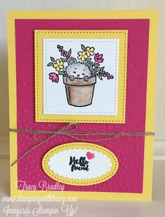 Card by Tracy Bradley featuring Stampin' Up! Pretty Kitty & Everyday Tags stamp sets  www.stampingwithtracy.com