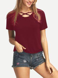 Camiseta cruzado casual-Sheinside