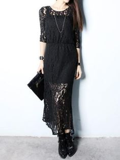 Long Black Lace Dress | Choies