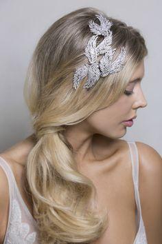 Feathers Swarovski Crystal Vintage Style Fashion and Bridal Headpiece.