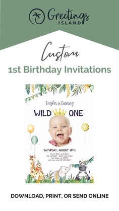 Your celebration isn't complete without custom birthday invitations from Greetings Island! Use our service to fully customize invitations for your child's first birthday. Download, print, or even send your cards online. Simply click to start customizing your birthday card, today! #custominvitations #partyinvites 1st Birthday Party Invitations, Birthday Invitation Templates, Custom Invitations, Invitation Cards, First Birthday Cards, 1st Birthday Parties, 1st Birthdays, Celebration, Kid