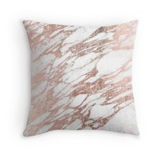 """Chic Elegant White and Rose Gold Marble Pattern"" Throw Pillows by Blkstrawberry…"