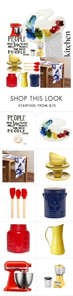 """Primary Colors Kitchen"" by porondeflores ❤ liked on Polyvore featuring interior, interiors, interior design, home, home decor, interior decorating, Martha Stewart, Cooks Tools, Dansk and KitchenAid"