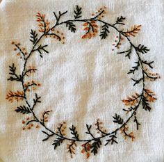 Вышивка embroidery wreath. Fall.