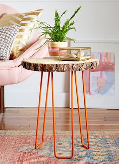 Emily Henderson side table DIY project for Redbook using orange hairpin legs