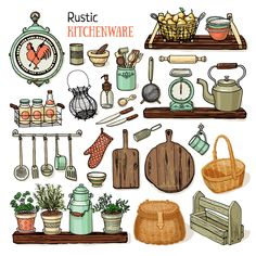 illustration, kitchen, art, printable, rustic kitchen, home, plants, decor