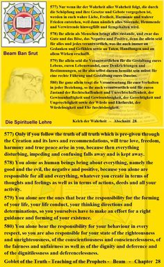 578) You alone as human beings bring about everything, namely the good and the evil, the negative and positive, because you alone are responsible for all and everything, whatever you create in terms of thoughts and feelings as well as in terms of actions, deeds and all your activity.   579) You alone are the ones that bear the responsibility for the forming of your life, your life conduct, your thinking directions and determinations,