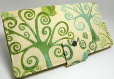 Handmade Long Wallet  BiFold Clutch Love a tree by faithonearth, $35.00