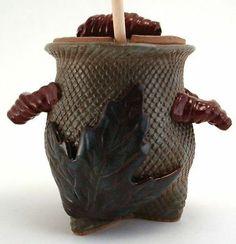 Stoneware Pottery Honey Pot Jar Hand Made OOAK Blue Burgundy Maple Leaf 3 Feet   eBay