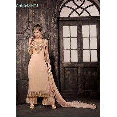Designer Peach Georgette Party Wear Palazoo Style Salwaar Suit-ASE643HYT ( ARTI-522 )