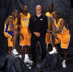 Kobe Bryant, Karl Malone, Phil Jackson, Shaquille O'Neal and Gary Payton