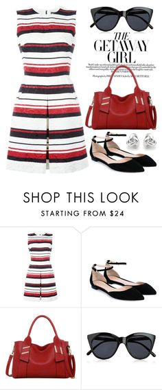 """""""Striped dress"""" by boxthoughts ❤ liked on Polyvore featuring Dolce&Gabbana, Gianvito Rossi, LineShow, Le Specs and Georgini"""