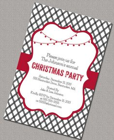 Holiday Party Invitations, Christmas Party invitations, Black and White and Red Lattice, Digital File (551)