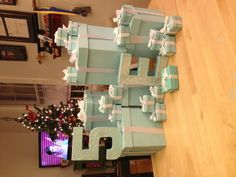 painted replica Tiffany & Co. boxes for birthday party