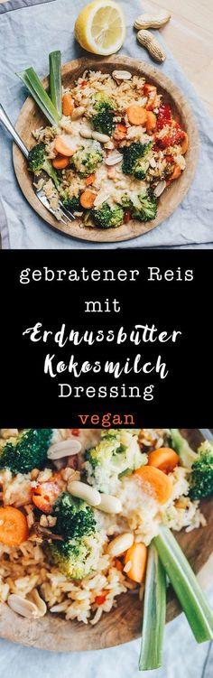 Gebratener Reis mit Erdnussbutter-Kokosmilch-Dressing / vegan, laktosefrei auf VANILLAHOLICA.com vietnamesisch vegan essen mit nur einer Handvoll Zutaten. Es ist billig, kostengünstig, ein gutes veganes Mittagessen und frischt mit dem Brokkoli das Ganze ein bisschen auf. Ein Sommerrezept, das auch als Winterrezept umfunktioniert werden kann. Mahlzeit !