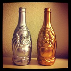 Spray painted Buddha beer bottles. Add some in-scents  and you've got cute decor.