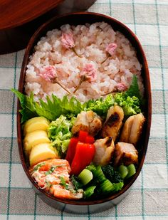 Sakura Bento - With Pickled Sakura! Japanese Lunch Box, Japanese Dishes, Japanese Food, Bento Box Lunch For Kids, Bento Recipes, Food Hacks, Asian Recipes, Cherry Blossom, Food And Drink