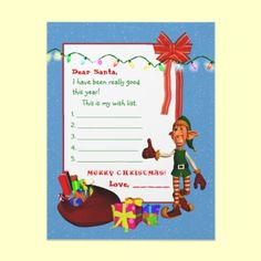 Children's wish list to Santa Letter - with thumbs up elf and toy sack! All prepared for your child to write his/her list to Santa! Great for teachers to give out in class too! :) #Santaletter #Christmas #Elf