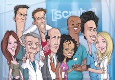 Scrubs TV Show Caricature | Caricature on the main characters of the TV series Scrubs, which was ...