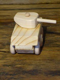 Mini Wood Toy Sherman Tank Wooden Toys WW2 by OutOnALimbADK
