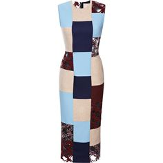 Roksanda Ilincic Patchwork Langston Dress ($2,525) ❤ liked on Polyvore featuring dresses, blue tea length dress, multi colored dress, blue dress, multicolor dress and colorful dresses