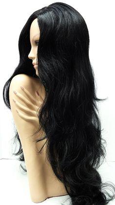 Long 30 inch Wavy Black Wig. Goth Style Wig. by ParamountWigs