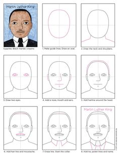 Draw Martin Luther King · Art Projects for Kids - I created this Martin Luther King for kids project to support classrooms that are celebrating MLK D - Martin Luther King Art Projects, Martin Luther King Kids, Martin King, Drawing For Kids, Art For Kids, How To Draw Kids, Children Drawing, King Craft, King Drawing