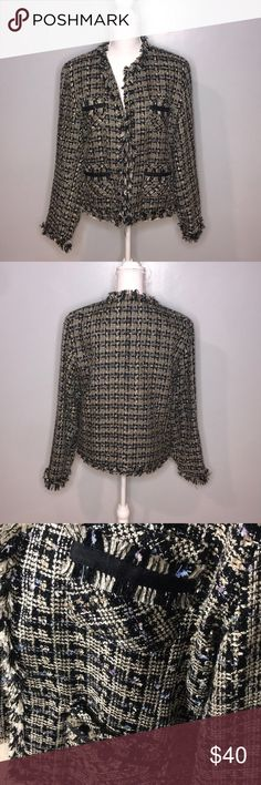 Robert Louis Tweed Jacket Gorgeous tweed jacket, worn only once! This jacket is so pretty, can be worn open or closed with clasps.   Size L robert louis Jackets & Coats Blazers