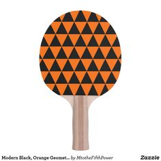 Modern Black, Orange Geometric Triangles Ping Pong Paddle by M to the Fifth Power Ping Pong Table Tennis, Ping Pong Paddles, Triangles, Orange, Modern, Black, Design, Trendy Tree, Black People