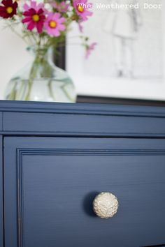 """Stacked dresser painted with a mix of General Finishes """"Coastal Blue"""", """"Queenstown Gray"""" and Sherwin Williams """"Rainstorm"""""""