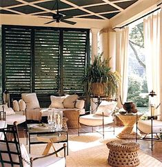 CoCo's Collection: Home Decor - As Winter Looms, Time to Think Porches, Patios and Terraces. A louvered partition maintains the privacy of this porch without sacrificing access to light or breezes Outdoor Living Rooms, Living Spaces, Pavillion, House With Porch, Outdoor Furniture Sets, Outdoor Decor, Indoor Outdoor, Adirondack Furniture, Outdoor Patios