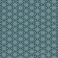 Tissu de coton japonais Saki - Motif Asanoha vert canard & blanc - Oeko Tex