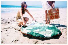 BEACH BLANKET BABYLON Inspired | Round Beach Blanket Throw  | Martinique Beverly Hills Tropical  Banana Leaf Fabric | Durable Sand Resistant