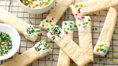 These easy sugar cookie sticks dipped into candy coating are sure to become a holiday favorite.