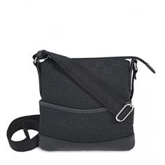 Gucci Black Canvas and Leather GG Logo Crossbody Messenger Bag. Available at Brandinia.com