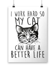 I Work Hard So My Cat Can Have a Better Life. The perfect poster for any proud cat owner! Available here - https://diversethreads.com/products/i-work-hard-so-my-cat-can-have-a-better-life-poster?variant=18891704389