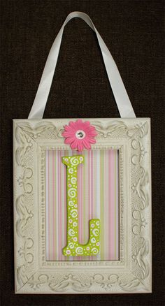 Wooden painted letter L in pink & green