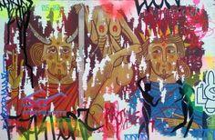 La extraña pareja en la tentación, Acrílico sobre MDF 50 x 33 cm, Curro Gómez