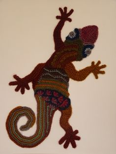 Freeform crocheted Gecko by Ann*Benoot, inspired by Zentangle Drawing of power animals. 40x50 cm. The proceeds of the sale of my artwork goes to charity.